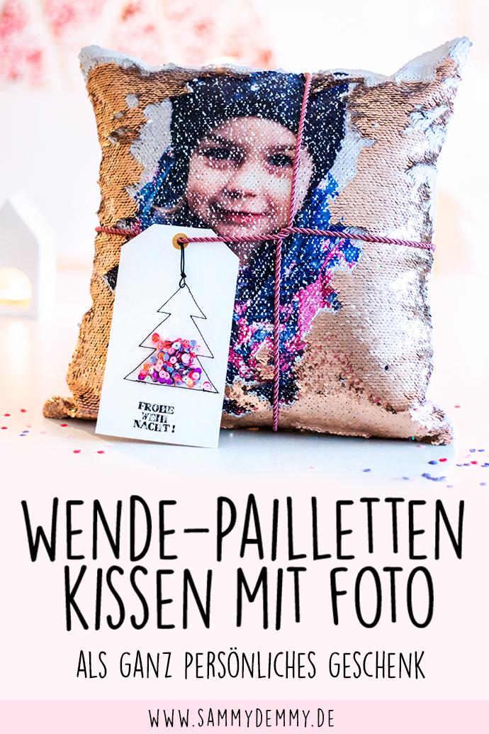 Pailletten-Kissen als geniales Fotogeschenk & DIY Karte