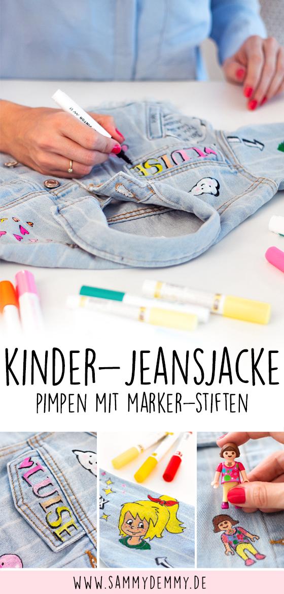 Berühmt Kleidung bemalen mit Markern: Jeansjacke und Chucks für Kinder UX44