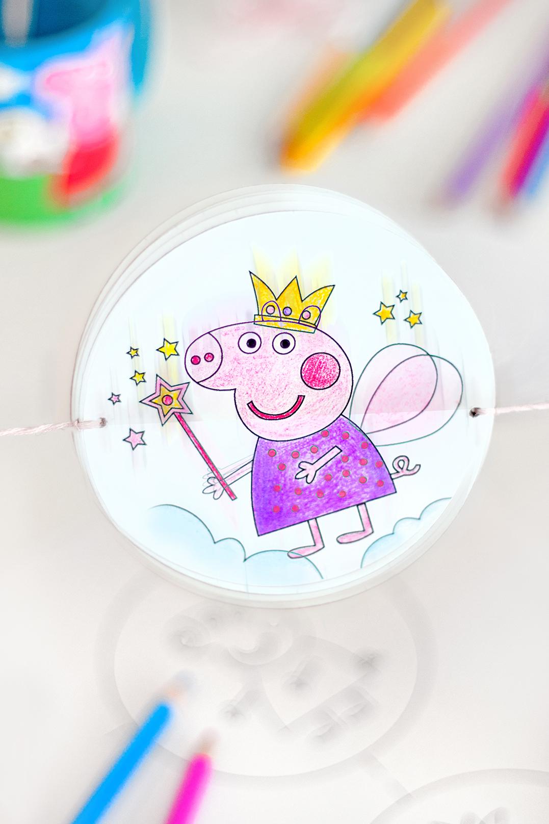 Thaumatrop Vorlagen Peppa Pig Drehbild Basteln