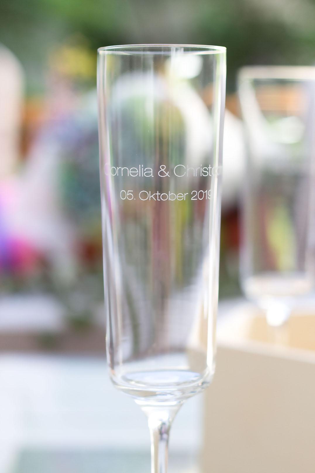 Geschenk Sektglas graviert