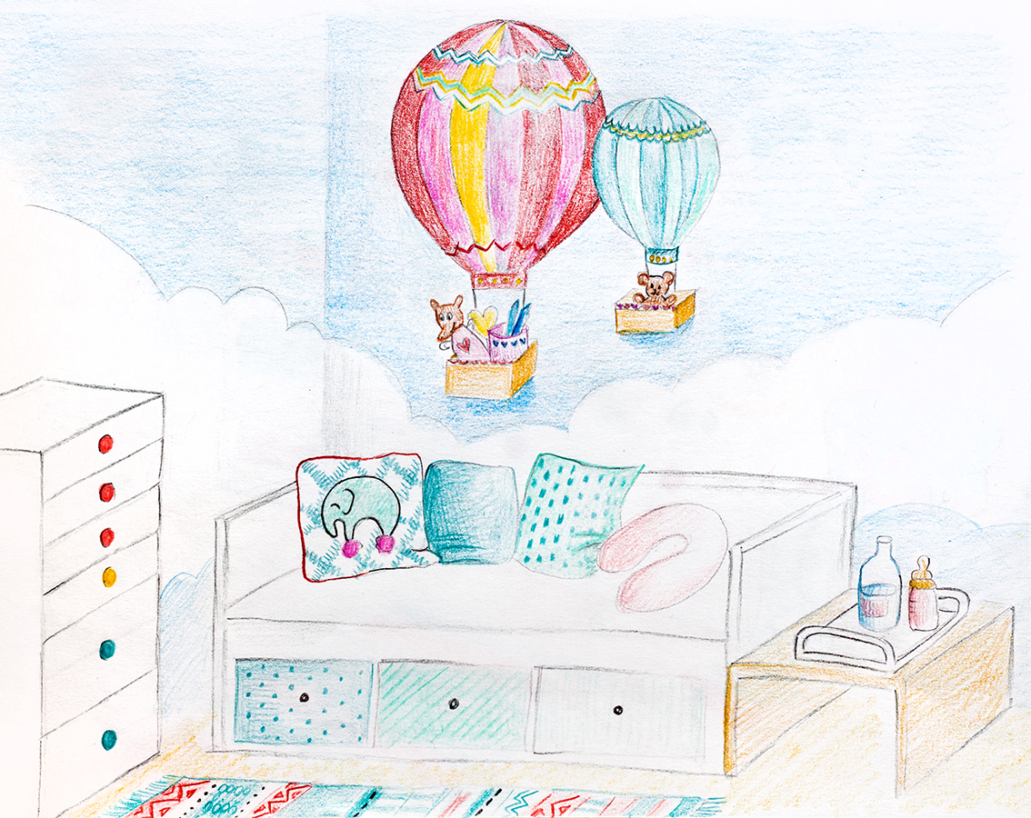 Babyzimmer Wandgestaltung Ballon