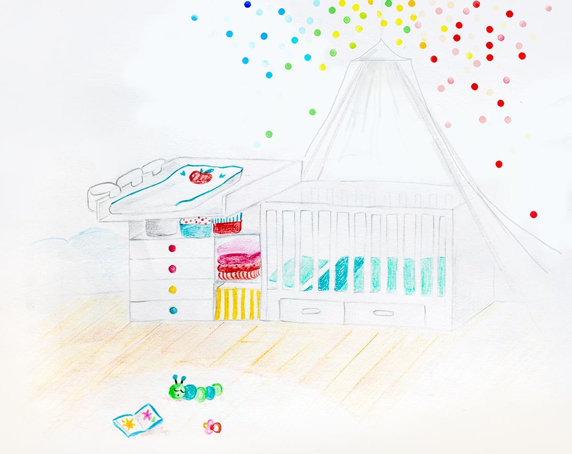 Babyzimmer Wandgestaltung Konfetti