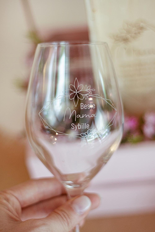 Weinglas eigener Text