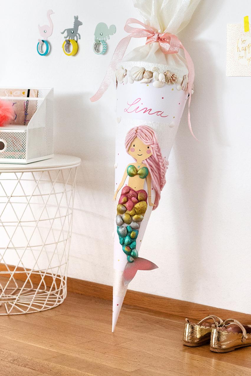 Meerjungfrau Schultüte basteln